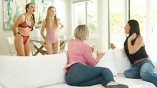 Stepmoms vs stepdaughters in the hottest lesbian orgy ever