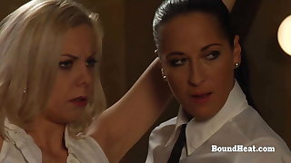 Tied Respecting Blonde Lesbian Concomitant Groped With the addition of Caressed By Madame