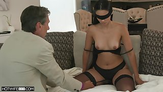 Blind-folded tie the knot fucked by a guy older than her, her hubby's pop