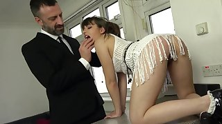 The dick suits her tiny holes round a fully dominant anal shag