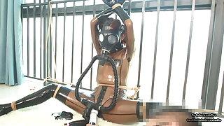 Cute Japanese latex girl, rope bondage increased by gas mask breathplay