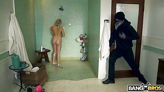 Masked burglar wants to ruin say no to shaved pussy