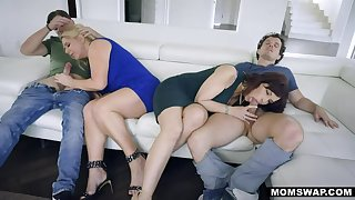 MOMSWAP 2 Busty MILF animate their Stepsons in 4some