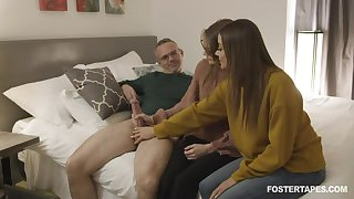 Jerking cock if fun for naked girls lock bonking doggy rough is better