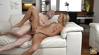Perfect blonde girl with will not hear of pussy fucked by old alms-man