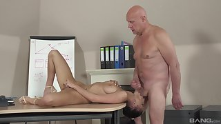 Old beggar fucks younger student and cums inside their way mouth