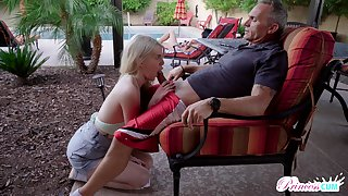 Obsessed involving sexual congress teen Megan Holly gets come by pants of old step daddy